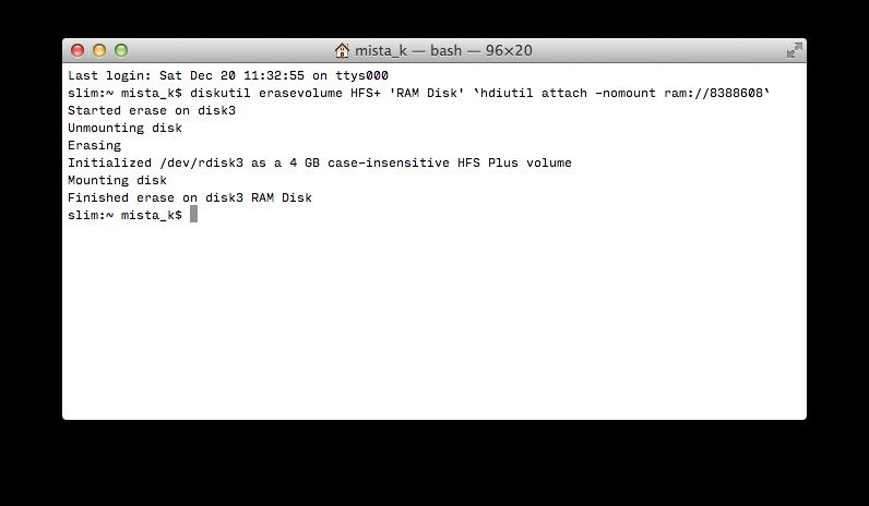 Создать RAM-диск в терминале