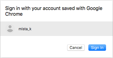 Sign in with your account saved with Google Chrome